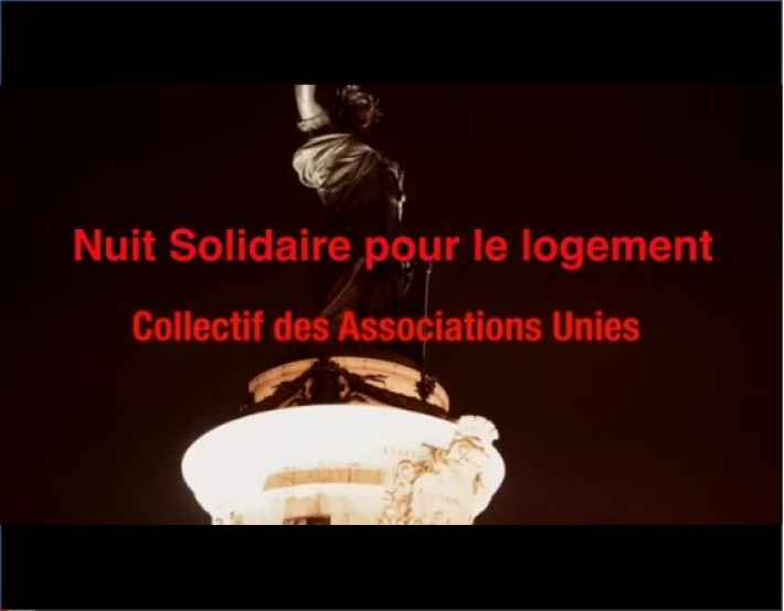 Nuit Solidaire pour le logement du 12 février 2015 organisée par le Collectif des Associations Unies